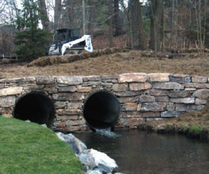 Cambi Residence, Water Flowing Through A Stone Structure, Stone Structure, Stonework Western MA, Landscape Architect