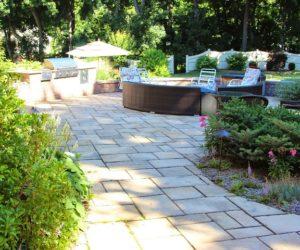 Backyard With Large Stone Patio, Chesky Residence, Stone Mason Western MA, Stonework Springfield MA, Outdoor Patio Design