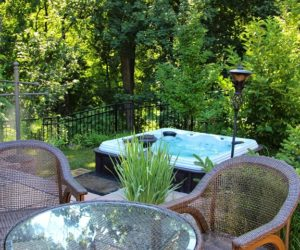 Backyard With Hot Tub, Chesky Residence, Outdoor Living Design, Landscape Designer Western MA, Landscape Architect Longmeadow MA, Landscape Architect Springfield MA
