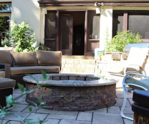 Outdoor Living Space With Stone Patio And Fire Pit, Chesky Residence, Stone Patio Western MA, Outdoor Stone Fireplace Western MA, Stonework Springfield MA