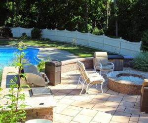 Backyard With Swimming Pool Grill And Fire Pit, Chesky Residence, Outdoor Grill, Outdoor Grill Installation, Outdoor Living Design Western MA, Outdoor Living Design Springfield MA