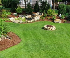 Large Landscaped Backyard With Stone Fire Pit And Waterfall, Landscape Design Wilbraham MA, Landscape Designer Wilbraham MA, Landscape Designer East Longmeadow MA