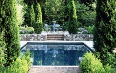 Classic garden surrounding a pool, classic garden style, landscape design, landscape architecture Western MA, landscape designer Western MA