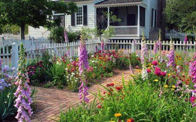 garden in bloom in front of a house, colonial style garden, garden design, landscape designer Westfield MA, landscape architect Longmeadow MA, landscape architect East Longmeadow MA